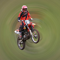 Buy canvas prints of Motor Cross Rider in flight by sue boddington