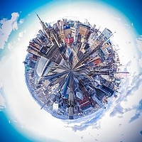 Buy canvas prints of Glasgow Little Planet 3 by Mark McGillivray