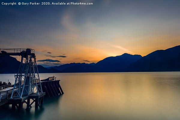 Pier overlooking Porteau Cove, BC, Canada, sunset Canvas print by Gary Parker