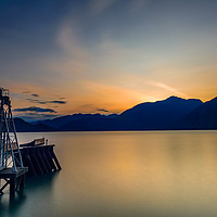 Buy canvas prints of Pier overlooking Porteau Cove, BC, Canada, sunset by Gary Parker