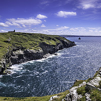 Buy canvas prints of The Coast at Tintagel by Lizzie Jones
