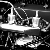 Buy canvas prints of Vintage Car Engine Chrome by Rob Cole