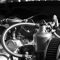 Buy canvas prints of Twin SU Carburettors on a Classic Car Engine by Rob Cole