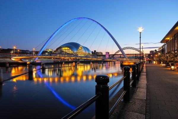 Tyne Bridges, Newcastle-Gateshead at Dusk Framed Mounted Print by Rob Cole