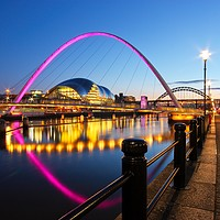 Buy canvas prints of Tyne Bridges, Newcastle-Gateshead at Dusk by Rob Cole
