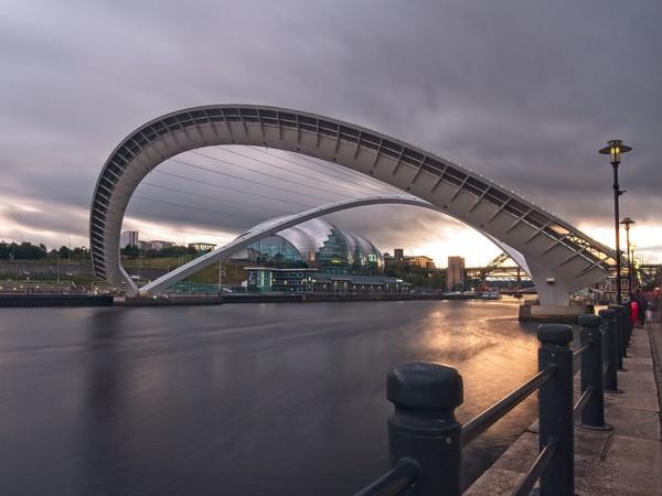 Tilted Millennium Bridge, Newcastle Canvas Print by Rob Cole