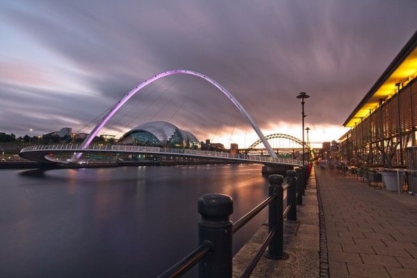 Newcastle Quayside and Millennium Bridge Canvas Print by Rob Cole