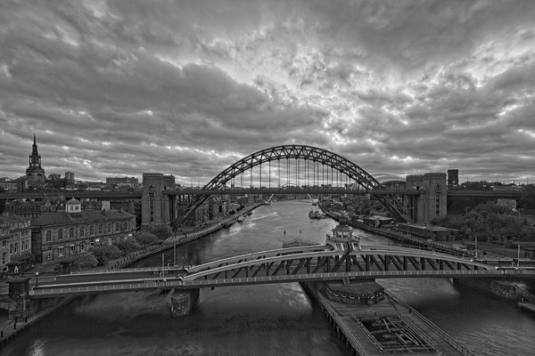 Newcastle Tyne Bridges at Dawn Canvas Print by Rob Cole
