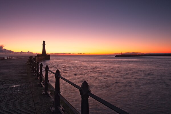 Roker Pier and Lighthouse Framed Mounted Print by Rob Cole
