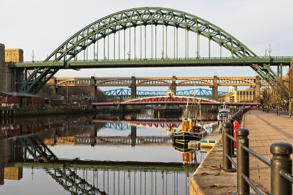 Tyne Bridges Reflections, Newcastle Framed Print by Rob Cole