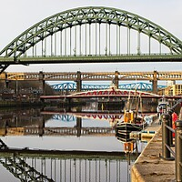 Buy canvas prints of Tyne Bridges Reflections, Newcastle by Rob Cole