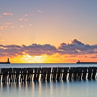 Buy canvas prints of Mouth of the Tyne Sunrise by Rob Cole