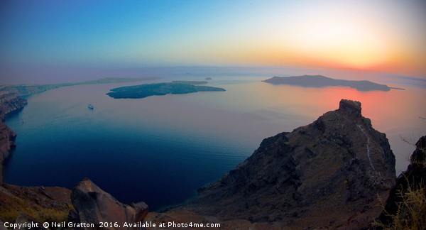 Sunset over Santorini Acrylic by Neil Gratton