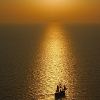 Buy canvas prints of Sea Sunset from Oia by Neil Gratton