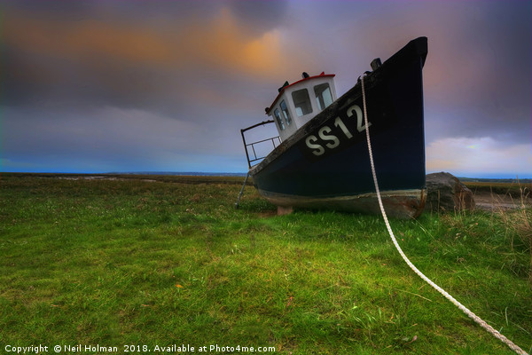The SS12 Fishing Boat at Penclawdd Canvas print by Neil Holman