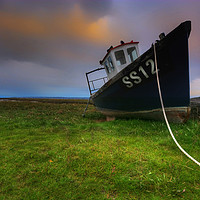 Buy canvas prints of The SS12 Fishing Boat at Penclawdd by Neil Holman