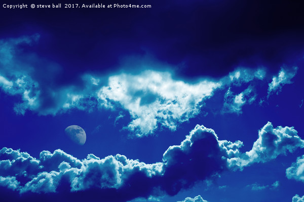 Blue clouds and moon Canvas print by steve ball