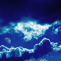 Buy canvas prints of Blue clouds and moon by steve ball