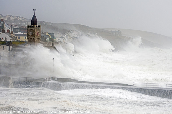 Porthleven battered by winter storm Canvas print by Bob Sharples