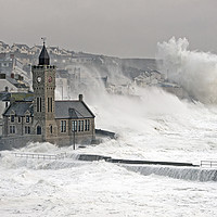 Buy canvas prints of Porthleven battered by winter storm by Bob Sharples