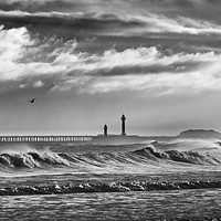 Buy canvas prints of Storm breakers at Sandsend and Whitby by John Potter