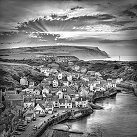 Buy canvas prints of Staithes Mono Sunset by John Potter