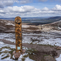Buy canvas prints of Aviemore Cairngorms wooden sign post by Kevin White