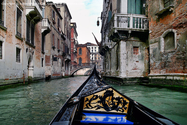Canal trip through Venice Print by Kevin White