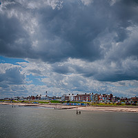 Buy canvas prints of Southwold beach and lighthouse. by Linda Cooke