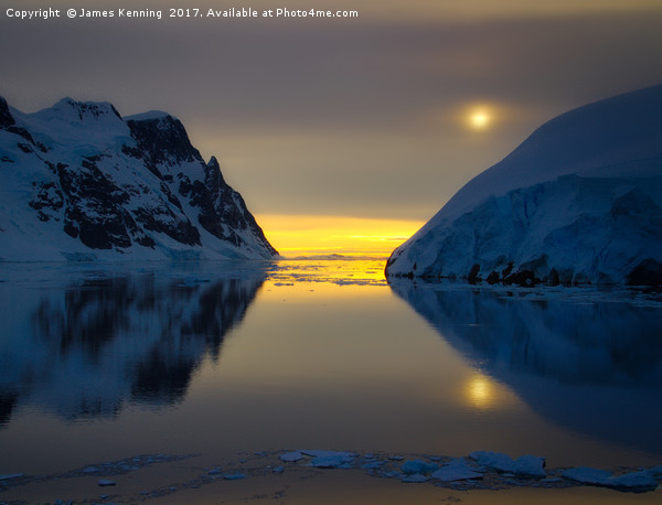 Midnight at Lemaire, Antarctica Canvas Print by James Kenning