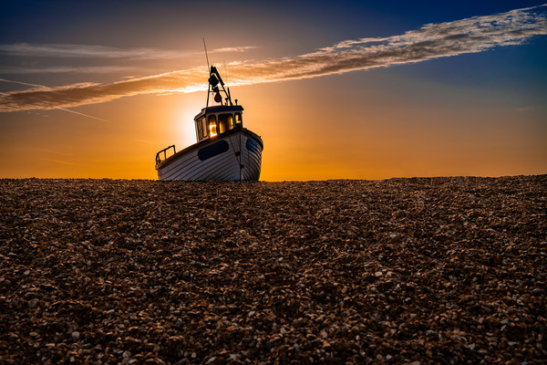Fishing Boat on the Beach at Dungerness at sunrise Framed Print by Dave Collins