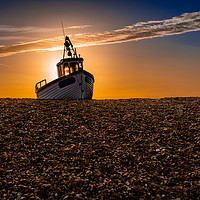 Buy canvas prints of Fishing Boat on the Beach at Dungerness at sunrise by Dave Collins
