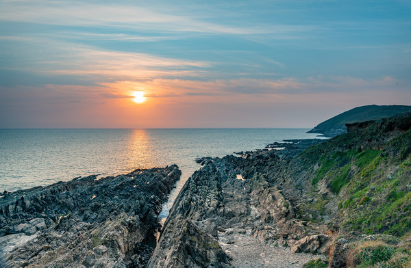 Sunset from Croyde, Devon, England Canvas Print by Dave Collins