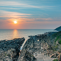 Buy canvas prints of Sunset from Croyde, Devon, England by Dave Collins