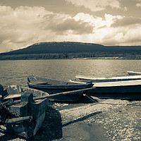 Buy canvas prints of Boats on a mountain lake by Larisa Siverina