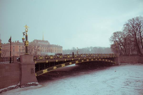 Snowy St. Petersburg Canvas print by Larisa Siverina