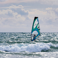 Buy canvas prints of Windsurfing on Newgale Beach. by Colin Allen