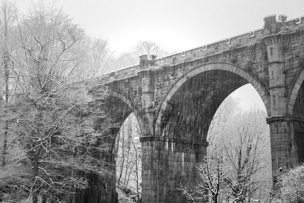 Knaresborough Viaduct with snow Canvas print by mike morley