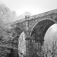 Buy canvas prints of Knaresborough Viaduct with snow by mike morley