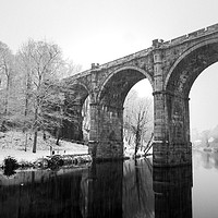 Buy canvas prints of Knaresborough Viaduct in winter snow by mike morley