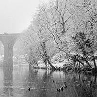 Buy canvas prints of Knaresborough Viaduct in winter snow by mike morley