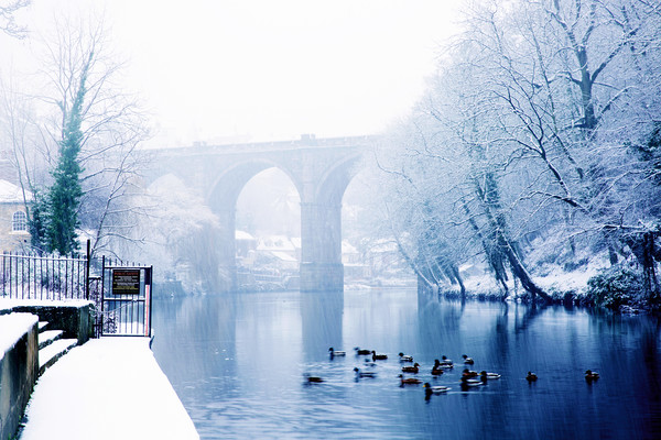 Knaresborough Viaduct in winter snow, North Yorks Canvas print by mike morley