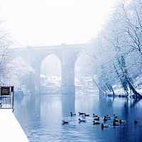 Buy canvas prints of Knaresborough Viaduct in winter snow, North Yorks by mike morley