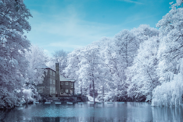 Knaresborough Infrared scene Canvas print by mike morley
