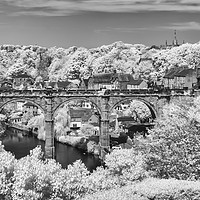 Buy canvas prints of Knaresborough viaduct infrared by mike morley