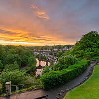 Buy canvas prints of Knaresborough Viaduct sunset by mike morley
