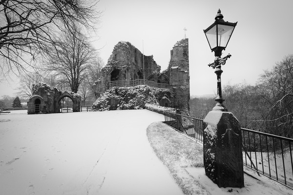 Knaresborough Castle in snow Canvas print by mike morley