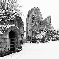 Buy canvas prints of Knaresborough Castle in snow by mike morley