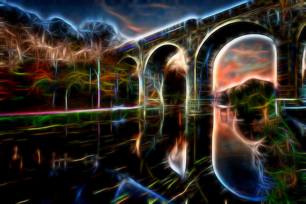 Knaresborough Viaduct abstract Canvas print by mike morley