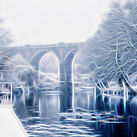 Buy canvas prints of Knaresborough Viaduct abstract by mike morley
